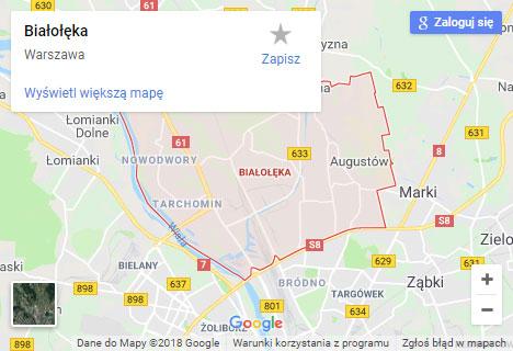 Mapa Google hydraulik Warszawa Białołęka